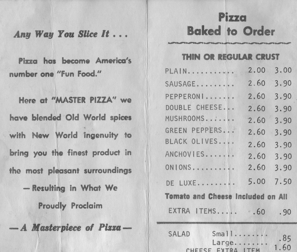 an early menu shows a cheese pizza listed for only $2