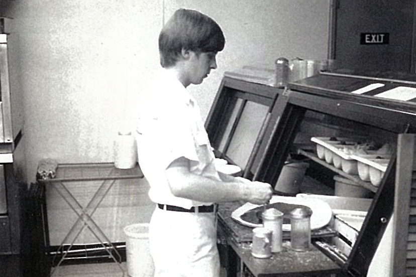 Terry Schrecker assembles a pizza in the early '70s