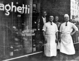 John Sasso (front left) proudly mans his new pizzeria.